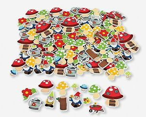 New-25-Lot-Gnome-Mushroom-Gardening-Woodland-Foam-Shape-Stickers
