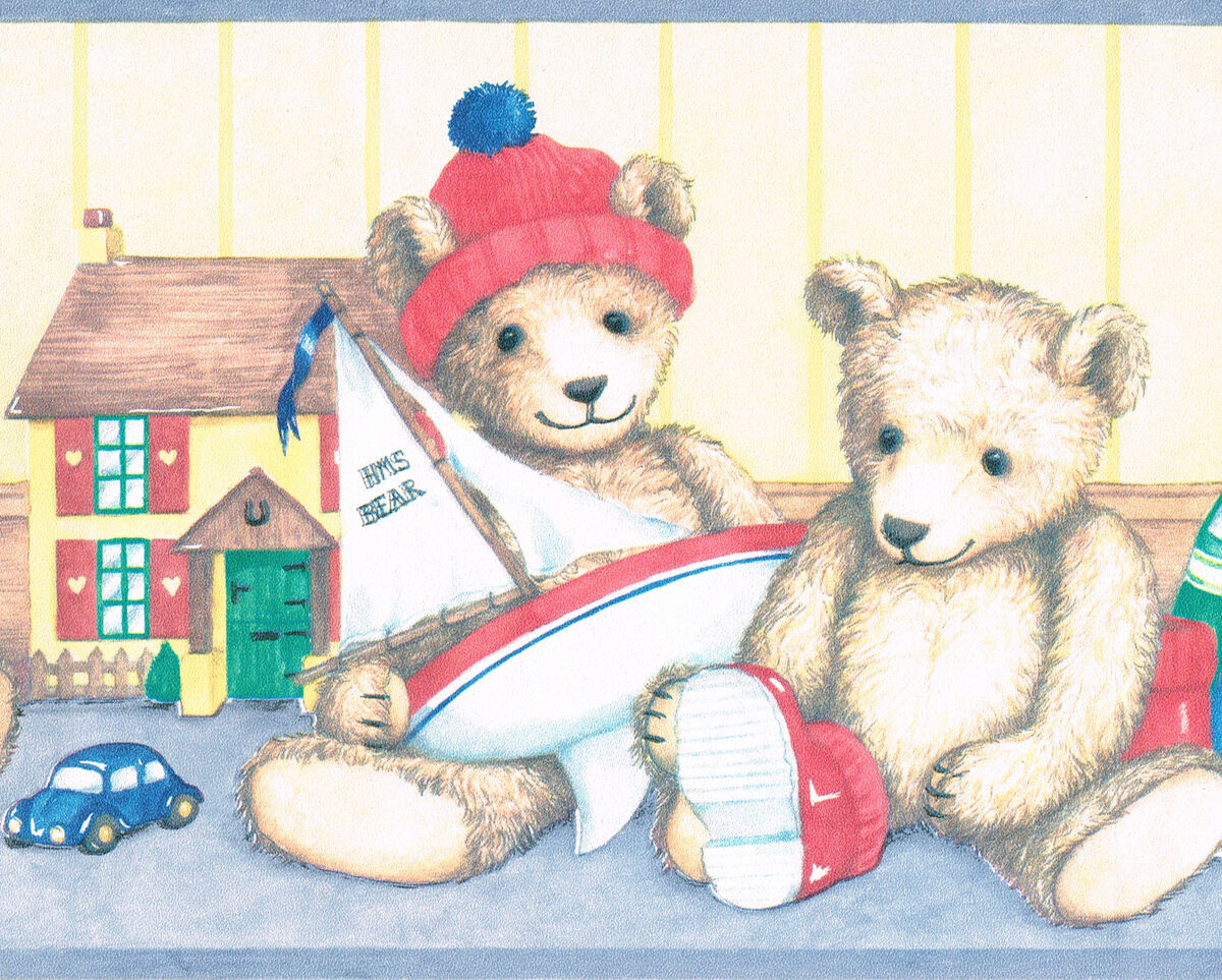 Teddy Bear Toy Box Book Kids Room Only $9 99  Wallpaper Border Wall