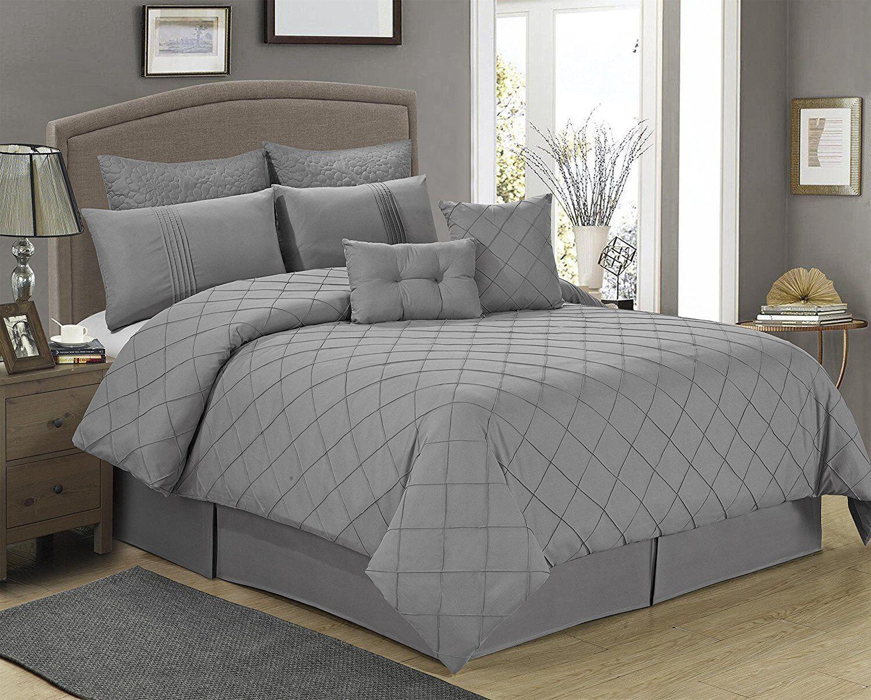 8 Piece MANCHESTER Gray Tucking Pattern Comforter Set-Queen