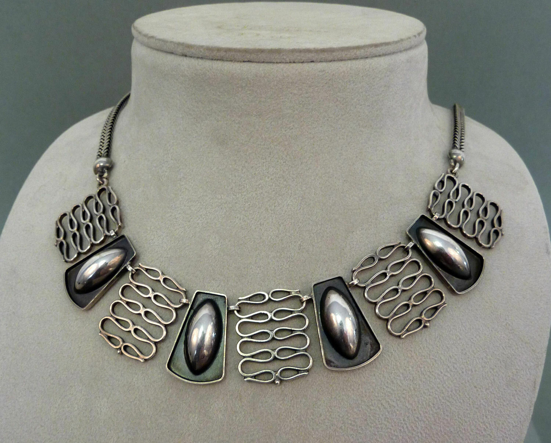 Art Deco Modernist Damen Silbercollier Kette 835 Silber Gustav Hauber 19201930