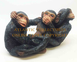 THREE FUNNY MONKEYS SEE HEAR SPEAK NO EVIL STATUE FIGURINE SCULPTURE