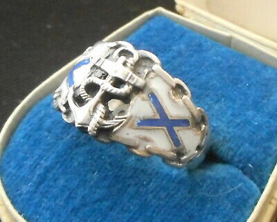 RUSSIAN IMPERIAL NAVY OFFICER STERLING SILVER RING