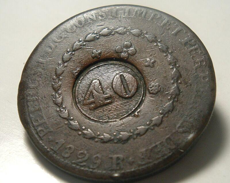 1829-R Brazilian 40 Reis Counterstruck Revalued on 80 Reis World Coin - Brazil