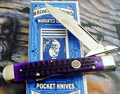 Case Classic Cheetah Knife 1996 Issue Royal Purple Bone Only 95 Made MIB AAA+ NR