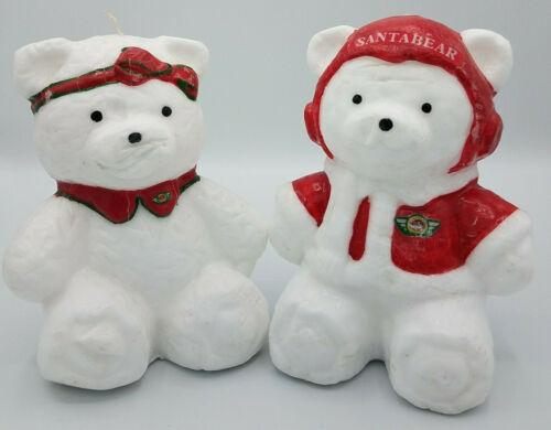 Dayton Hudson Vtg 1987 Santa Bear (Mr & Mrs) Christmas Candles White & Red