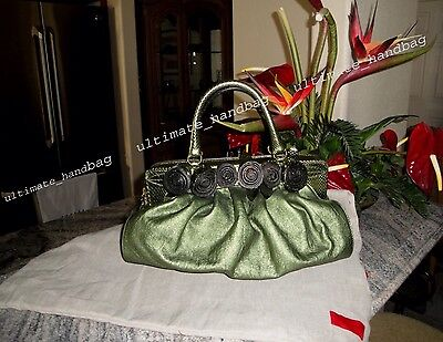 AUTH VALENTINO  ROSETTE GREEN PYTHON/LEATHER SATCHEL BAG BRAND NEW 2.6K