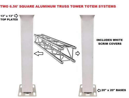 Two (2) Totem 2m 6.56ft Aluminum Square Truss Tower Base +Scrim Vertical System