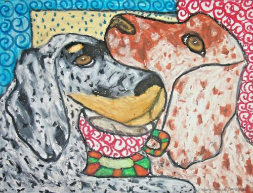 English Setter Collectible 11x14 Dog Art Print Drinking Coffee by Artist KSams