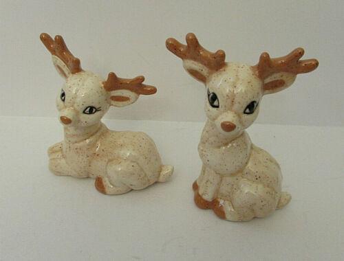 """VINTAGE Ceramic Christmas Reindeer Figurines Lot (2) 3-4"""""""