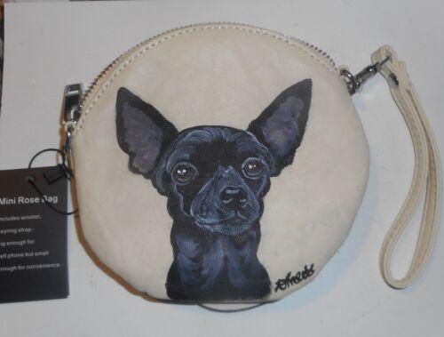 Black Chihuahua Hand Painted Vegan Leather Wristlet Mini Purse Rose Bag