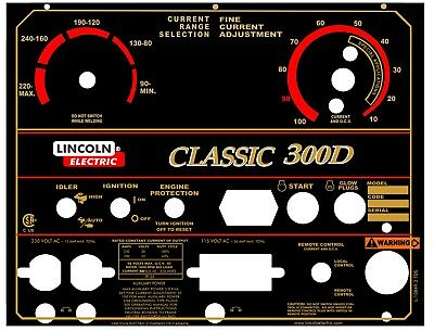 Lincoln Arc Welders Classic I Part L-10849-1 Black Face Alum Control Plate