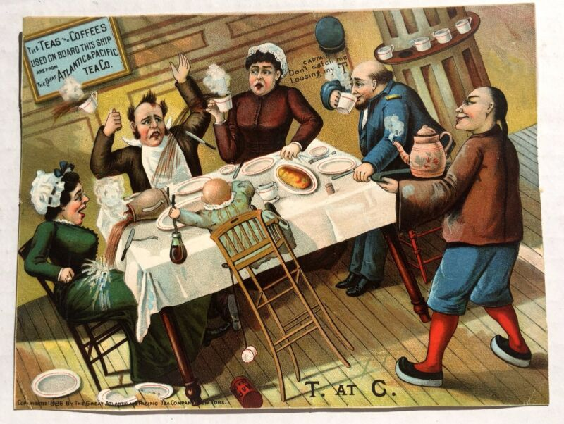 Large 1886 A&P Tea And Coffee Victorian Advertising Trade Card Nice Colors