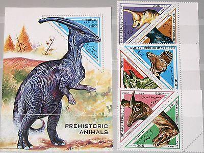 SOMALI REPUBLIC 1997 unlisted set + Block Dinosaurier Dinosaurs Fauna Tiere MNH