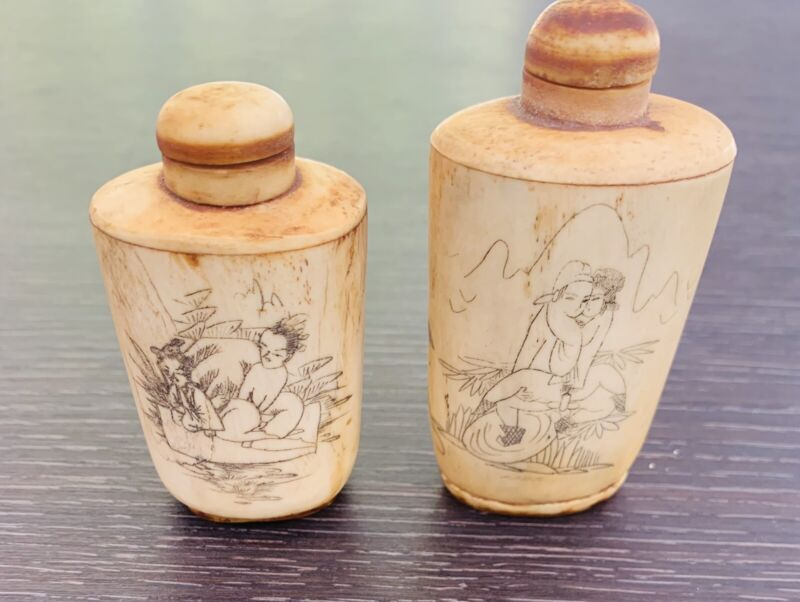 Lot 2x Antique Asian Erotic Snuff Bottle & Top Hand Carved Figures
