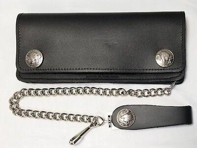 - Buffalo Nickel Large Black Leather Trucker Wallet 7.5