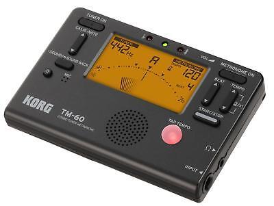 Korg TM-60 BK Tuner/Metronom Stimmgerät Rhytmusbegleitung Zubehör Batterie Click (Korg Stimmgerät Metronom)