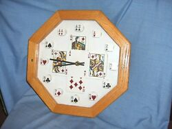#606 - POKER PLAYER'S WALL CLOCK - NATIVE AMERICAN FACE CARDS - INDIAN CHIEF