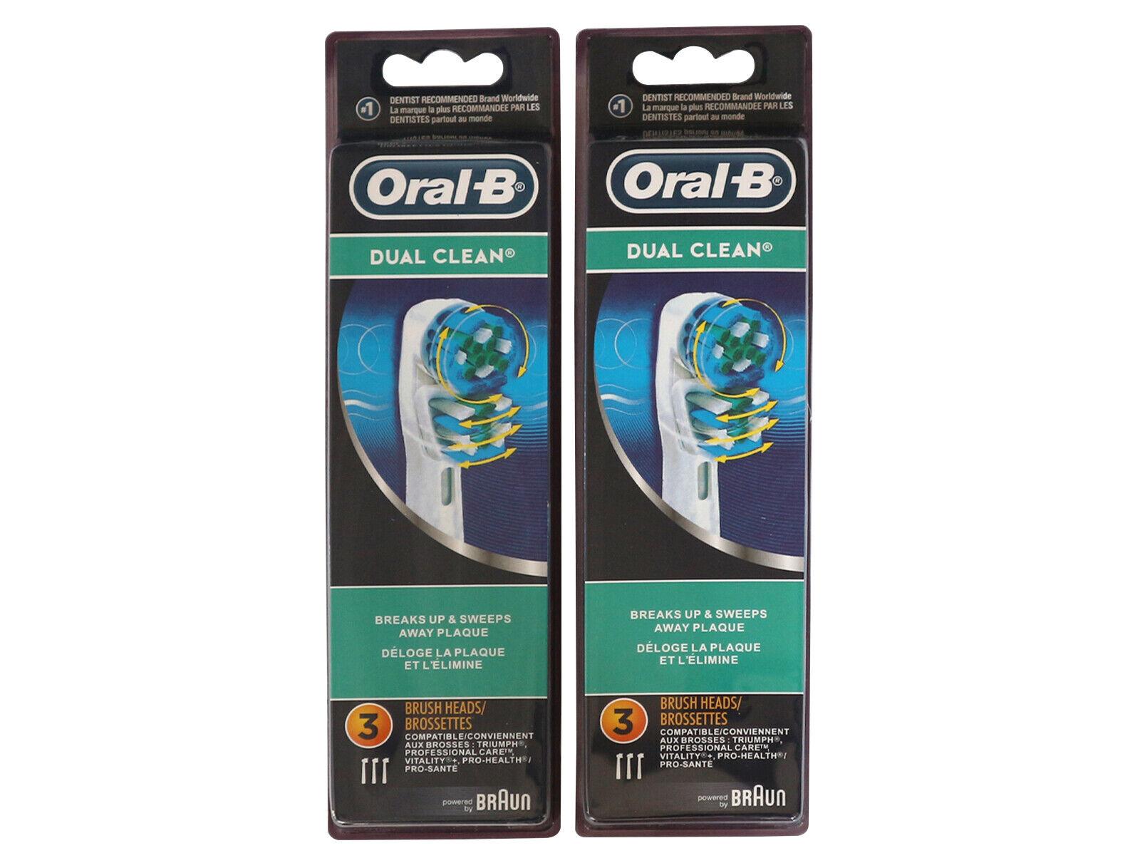 6 BRAUN ORAL B DUAL CLEAN TOOTHBRUSH REPLACEMENT BRUSH HEADS