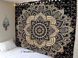 Black Gold Ombre Indian Mandala Cotton Bohemian Hippie Tapestry Boho Home Decor