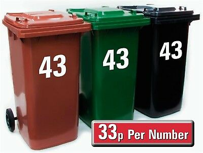 """3 X White Wheelie Bin House Number Stickers 7"""" High OR Recycling Stickers"""