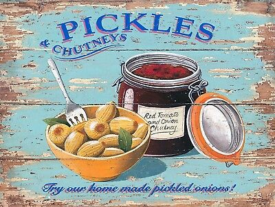 Pickles And Chutney, Retro metal Sign/Plaque Wall vintage / Kitchen Gift
