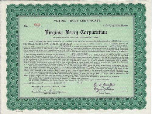 VIRGINIA 1952 Virginia Ferry Corporation Stock Certificate Chesapeake Bay