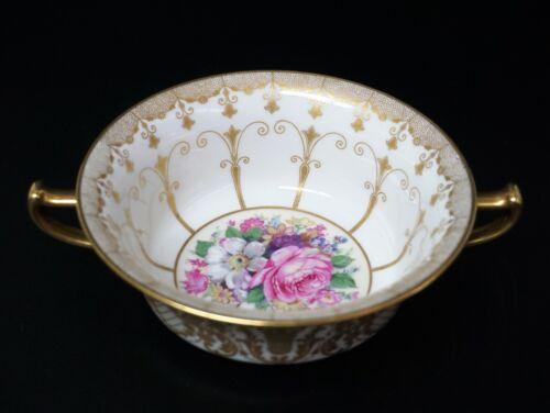 Gorgeous German Rosenthal China Gold Pink Roses Cream Soup Bowl