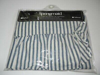 Vtg Springmaid Navy Blue Ticking Stripe Standard Ruffled Sham U.S.A. New ()