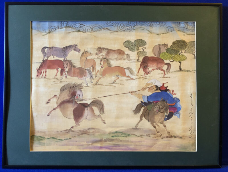 Original Mongolian Warrior Training The Horse Signed