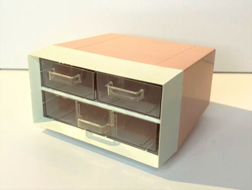 Vintage Campro Products Vanity Jewelry Organizer 3 drawer plastic pink 1950s