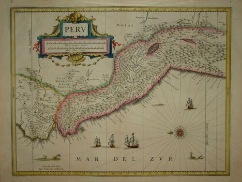 PERU BY JANSSONIUS PUBLISHED AMSTERDAM CIRCA 1658