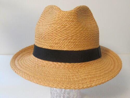 VINTAGE MELBOURNE HATS SUMMER TRILBY STRAW FEDORA HAT SIZE MEDIUM