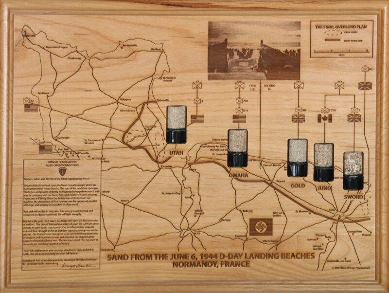 Final Overlord Plan Map June 6, 1944 D-Day Invasion Beach Sand Normandy WWII