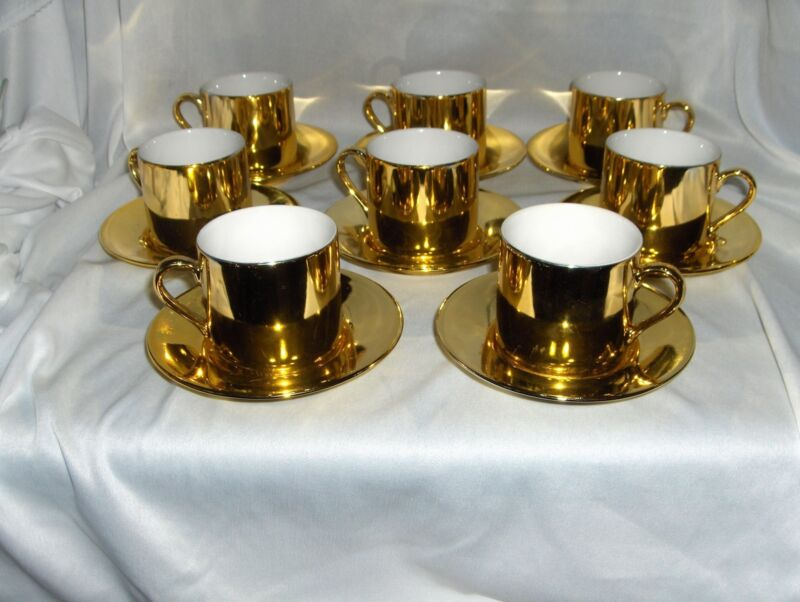 Vintage Gold Covered Porcelain 8 Demitasse Cup Sets NICE