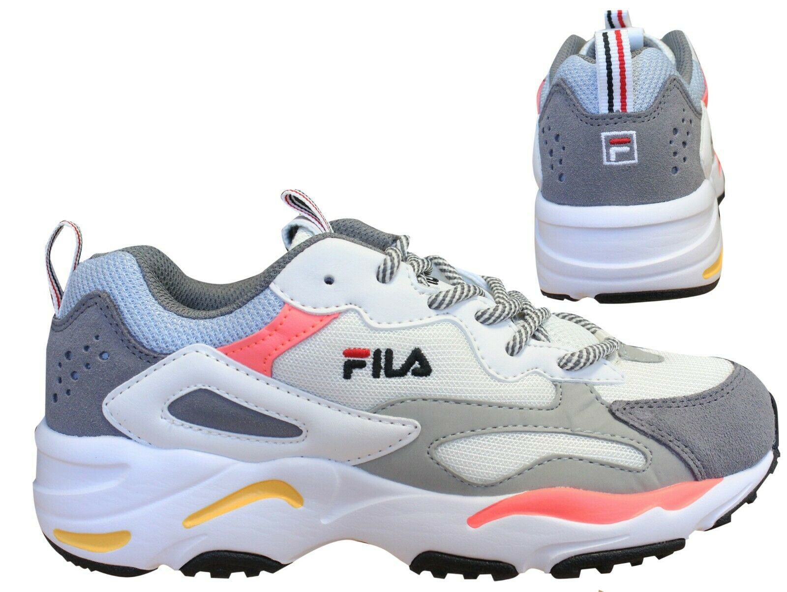 Details about Fila Ray Tracer Lace Up Casual Womens Sports Trainers Grey 1010686 91K X9B