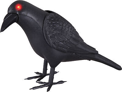 LifeSize Animated Crow Halloween Prop Haunted House Decoration Spirit Wings Move
