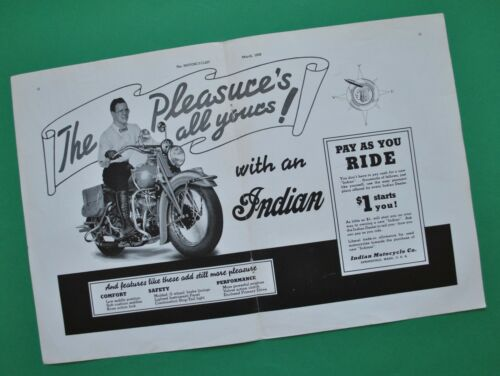 Vintage Antique 1939 Indian Motorcycle Brochure Scout Chief Poster Advertisement