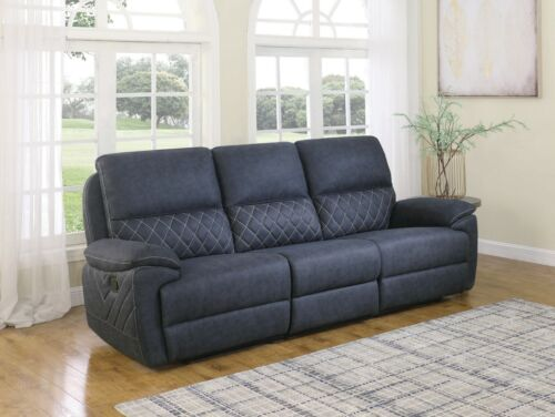 BLUE PERFORMANCE FAUX SUEDE RECLINING SOFA LIVING ROOM FURNITURE