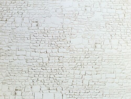 Dollhouse Miniature White Stone Wall Whitewashed Weathered Embossed Card 1:12