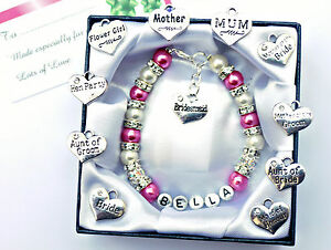 Personalised Bridesmaid Bride Wedding Flower Girl Birthday Gift Charm Bracelet