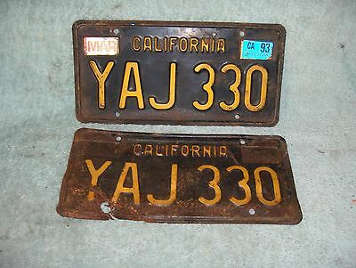 1963 California License Plates Pair Original Dmv Clear Yom Ca Yaj330 Rat Rod Vw