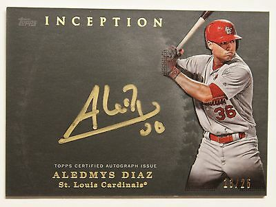2017 Inception Aledmys Diaz On Card Auto Gold Ink Rc Cardinals Ssp  13 25 Invest
