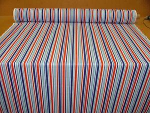 34fa2544269 4 Metres Nautical Red Blue White Stripe Fabric Curtain Upholstery Cushion  Use
