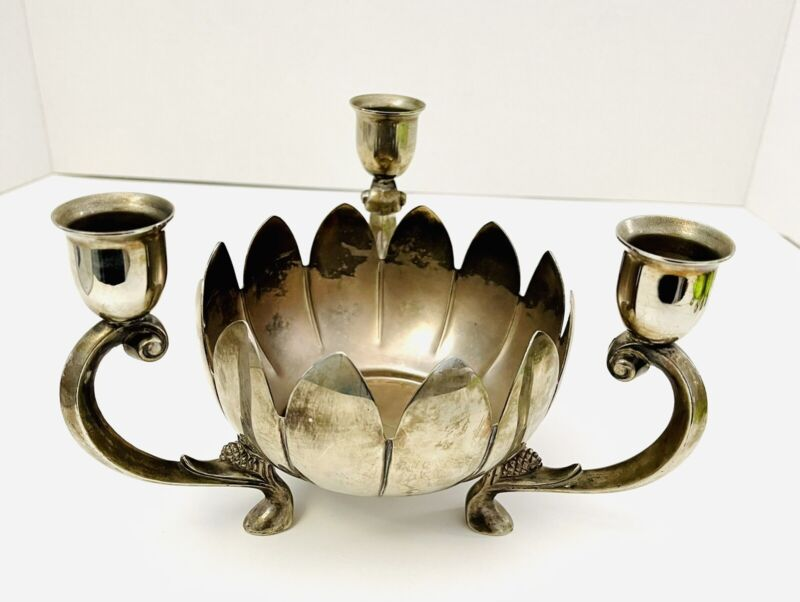 Vintage Leonard Silver Plate Lotus Flower 3 Arm Candlestick Holder  Centerpiece