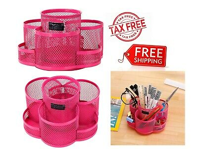 Rotating Metal Mesh Desktop Office Supplies Storage Organizer Caddy Rack Pink