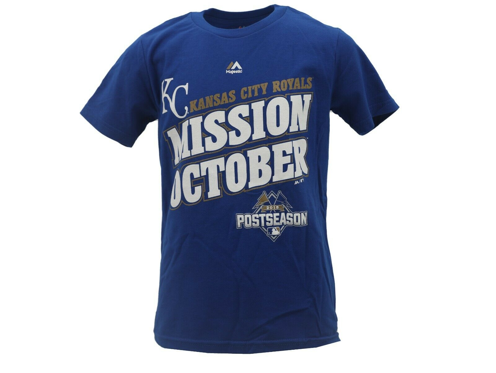 27830b85 Kansas City Royals Official MLB Majestic Kids Youth Size 2015 Postseason  T-Shirt