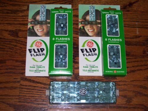 Lot of 3 GE Flip Flash for Kodak Trimlite & Tele-Instamatic Cameras N.O.S.