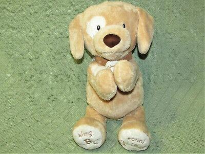 "BABY GUND SPUNKY ANIMATED PUPPY DOG PLUSH ABC 123 SINGS TALKS 10"" TAN WHITE TOY"