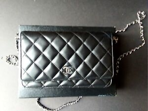 Chanel 100 Authentic Black Quilted Lambskin Leather Wallet On A Chain Woc
