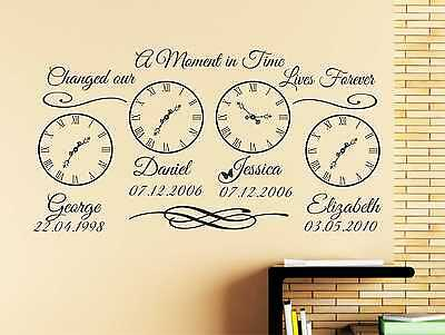 14 Personalized Kids Art (Personalised Kids Birth Date Custom Wall Art Clock X 4  Wedding Day Sticker  q14 )